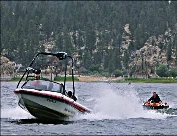 Boat Tubing on Big Bear Lake