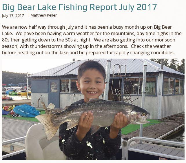 Big bear fishing report big bear cool cabins for Big bear lake fishing report